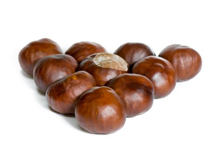a few brown chestnuts are on a white background photo