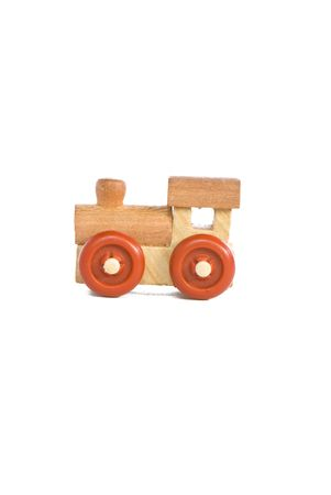 wood railroad: wooden toy train on a light background