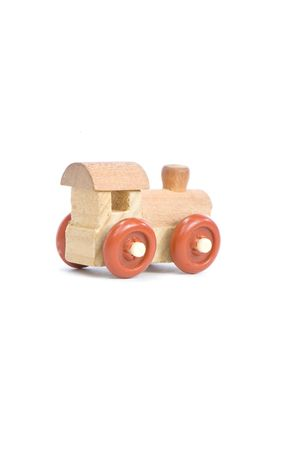wood railroads: wooden toy train on a light background