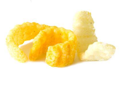 gease: crisp potato chips on a light background Stock Photo