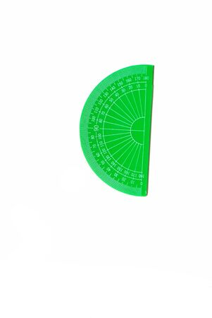 Transparent protractor isolated on a white background