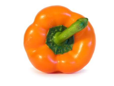excellent orange pepper with a green pod on a white background photo