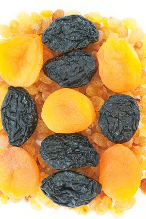 Composition from dried fruits on a light background