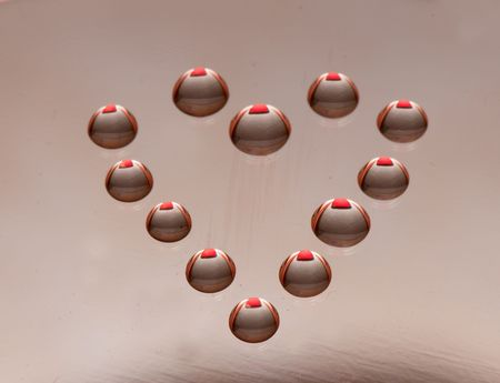 Water drops in the form of heart on a celebratory background photo