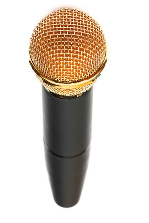 amplification: picture of professional microphones in the studio on white isolated background