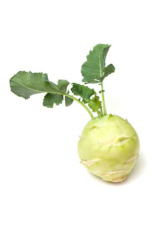 fresh cabbage of kohlrabi on the white isolated background