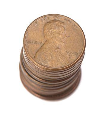 benjamin: stack of money on white isolated background.  studio photo. Stock Photo