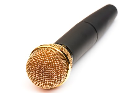 picture of professional microphones in the studio on white isolated background photo