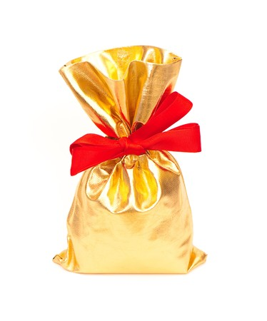 bag of gifts isolated on a white background. studio photography photo