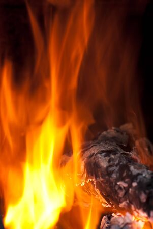 background from a fire, conflagrant firewoods and coals photo