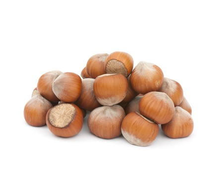 ailment: Composition from nuts on the white isolated background Stock Photo