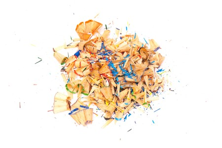 secretarial: sawdust from pencils isolated on a white background. studio. picture. Stock Photo