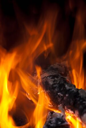 background from a fire, conflagrant firewoods and coals Stock Photo