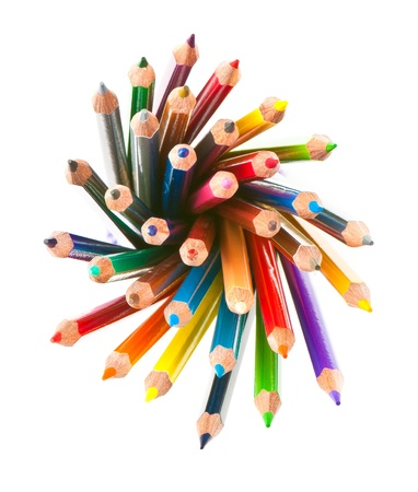 secretarial: color pencils isolated on a white background. Studio. Picture.