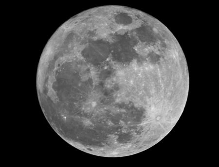 phase: Full moon closeup showing the details of the lunar surface Stock Photo