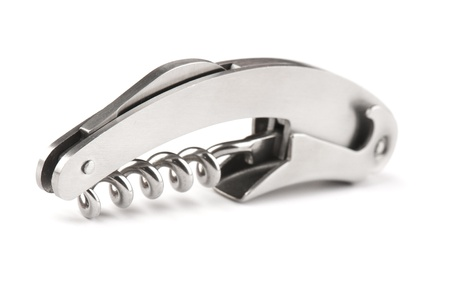 steel  corkscrew isolated on a white background.  Stock Photo