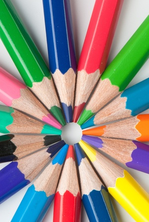 color pencils isolated on a white background. Studio.\ Picture.
