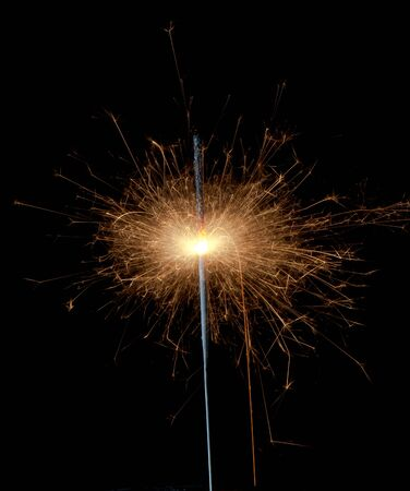 sparklet: Christmas sparkler isolated on black background. Bengal fire  Stock Photo