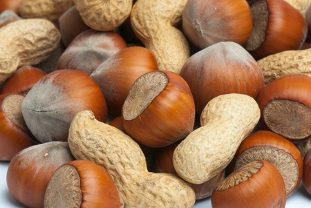Composition from nuts on the white isolated background Stock Photo - 12587945