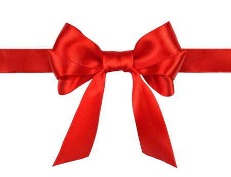 red gift satin ribbon bow on white background Stock Photo - 10651741