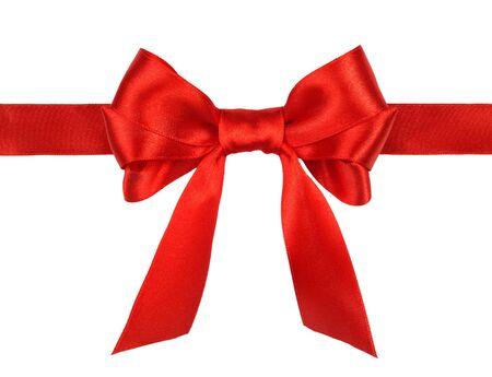 red gift satin ribbon bow on white background photo