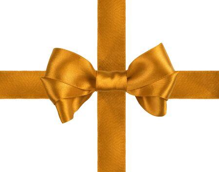 golden  gift satin ribbon bow on white background Stock Photo - 10651694