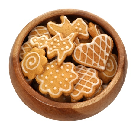 christmas gingerbread on white background photo