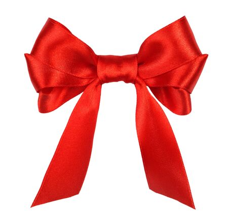 red gift satin ribbon bow on white background Stock Photo - 10651703
