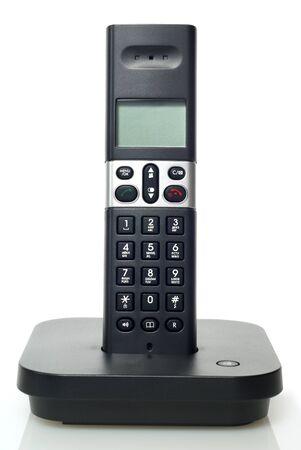 black telephone on white background photo
