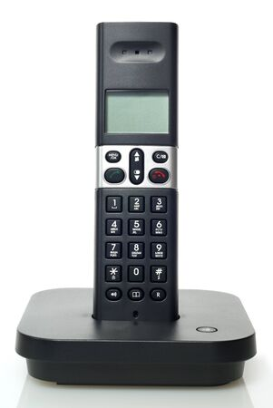 landlines: black telephone on white background Stock Photo