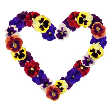 heart from various flowers on white background photo
