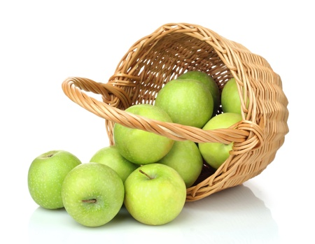 basket of green apples on white background  photo