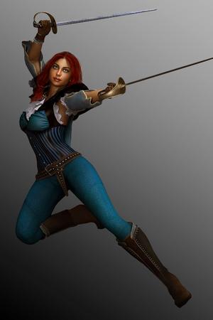 pirata mujer: Hermosa mujer pirata de la fantasía Foto de archivo