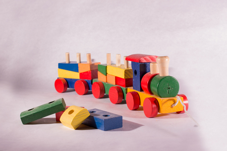 Wooden toy train Stock Photo