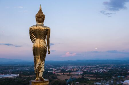 the righteous: Buddha statue on the hill at Wat Khao Noi, nan