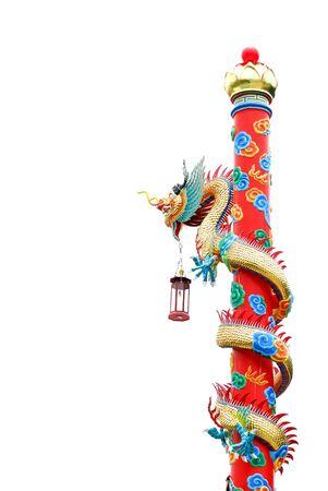 Čínský drak na tyči v bílém pozadí Reklamní fotografie