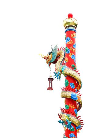chinese dragon on the pole in white background Stock Photo