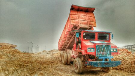 HDR of truck at constuction site taken and processing by my mobile.