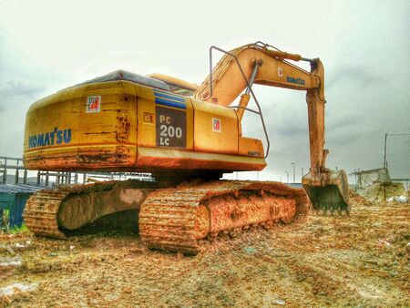 construction: HDR of dozer shovel at constuction site taken and editing by my mobile.