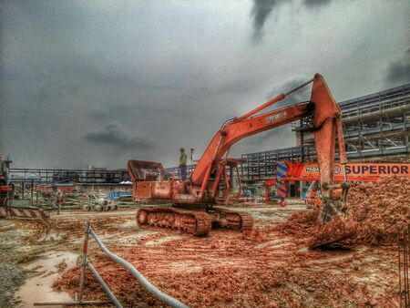 HDR of dozer shovel at constuction site taken