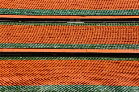 Measuring metal Castle roof tiles in thai  photo