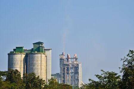 cement chimney: Cement factory in green area