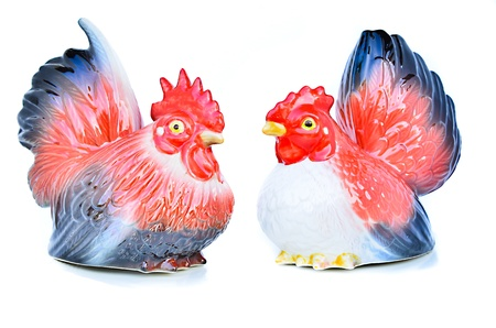 Doll ceramic roosters and hen