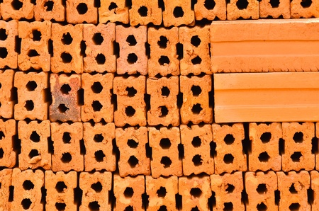 Stack of Red Bricks Stock Photo - 18126472