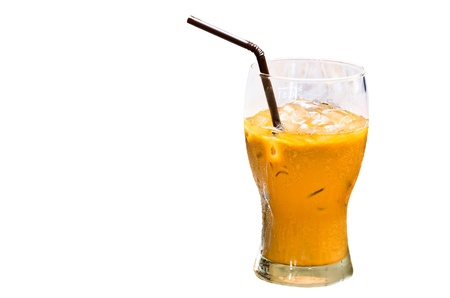 Iced coffee with straw Stock Photo