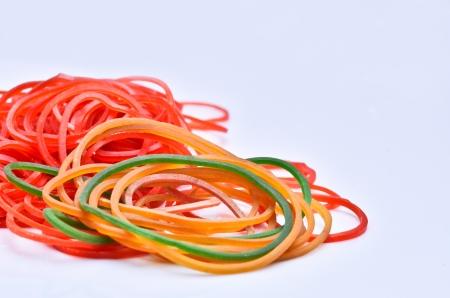 elasticidad: elásticos de caucho de colores Foto de archivo