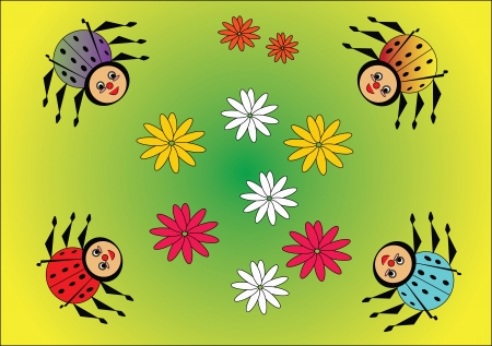Beetles  and flower Vector