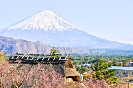 Mountain Fuji from  Village Stock Photo