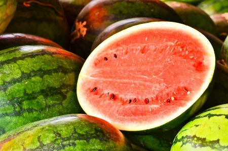 watermelons and a slice Stock Photo