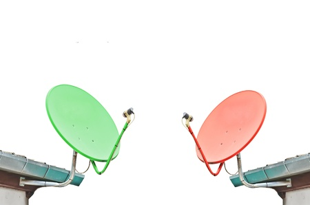 Two Satellite dish on white background photo